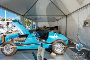 La monoplace Gordini type 16 en exposition sur le Port de Plaisance à Saint-Jean-Cap-Légendes édition 2015